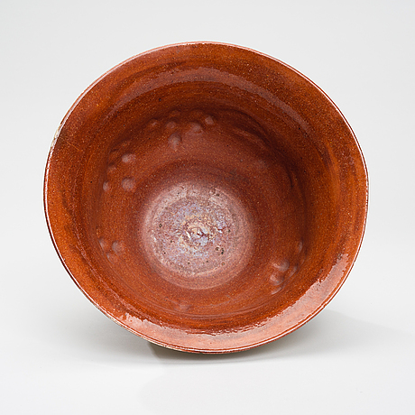 Gerda thesleff, a ceramic bowl. sign. gt finland, 1915