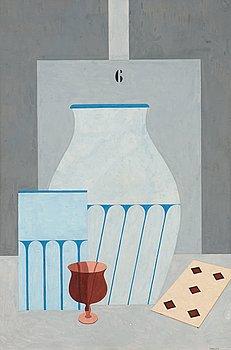 45. OTTO G CARLSUND, Stilleben med glas, vaser och spelkort.