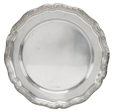 A round silver tray,