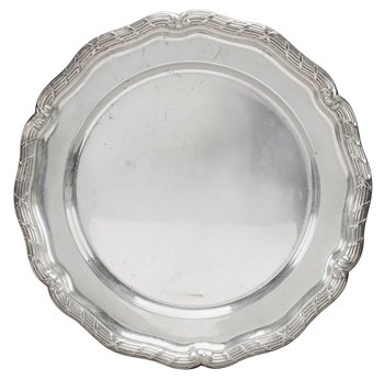 14. A ROUND SILVER TRAY,