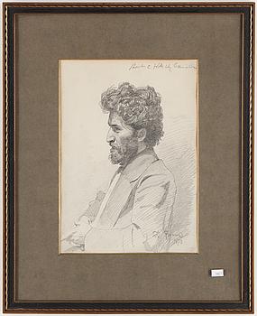 ILJA REPIN, Blyertsteckning, signerad och daterad 1870.