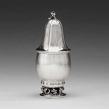 6. Georg Jensen, a sterling sugar castor, Copenhagen 1933-44, design nr 296, Swedish import marks.