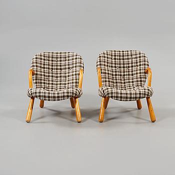 "FÅTÖLJER, ett par, ""Clam Chair""/""Muslinge"", Philip Arctander, tillskriven, 1940/50-tal."