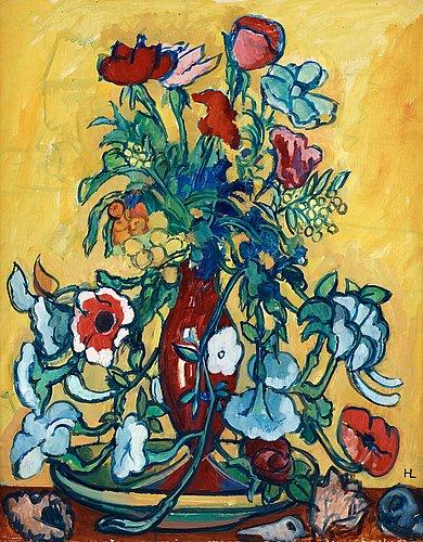 """Hilding linnqvist, """"variation av blommor i veneziansk vas""""."""