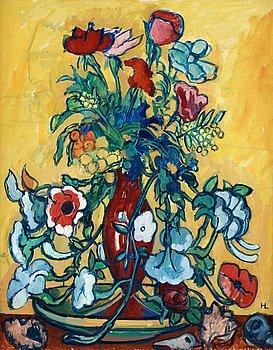 """21. HILDING LINNQVIST, """"Variation av Blommor i Veneziansk vas""""."""