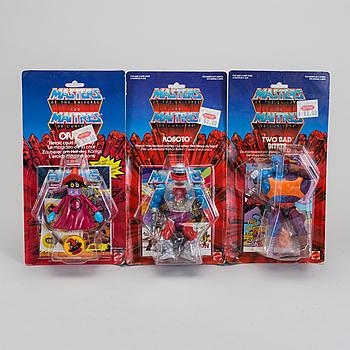 MASTERS OF THE UNIVERSE, Battle cat, Two-Bad,  Orko samt Roboto i förpackningar, Mattel, 1983-84.