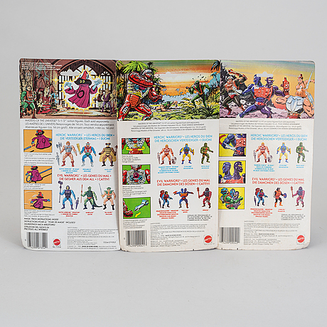 Masters of the universe, battle cat, two bad,  orko samt roboto i förpackningar, mattel, 1983 84