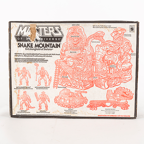Masters of the universe, snake mountain playset i förpackning, mattel, 1983