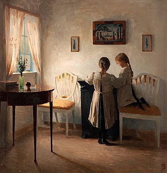 994. Peter Ilsted, Interior with two girls.