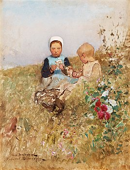 893. Hugo Salmson, French children on a meadow.
