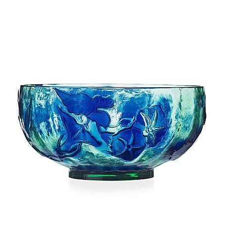 Emile gallé, an art nouveau 'firepolished' cameo glass bowl, nancy, france.