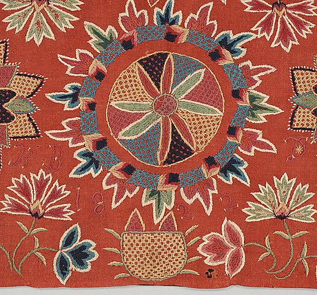 """Carriage cushion, embroidered. """"blomsterdyna"""". 51 x 102,5 cm. scania, sweden, 1822."""
