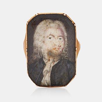 470. RING med miniatyrporträtt troligen föreställande Johan Henrik Scheffel (1690-1781). Hans krets.