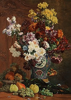 1004. Emile Laborne, Stillife with flowers and urn.