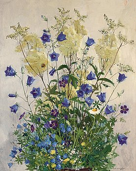 862. Olle Hjortzberg, Still life with bluebells and bumblebee.