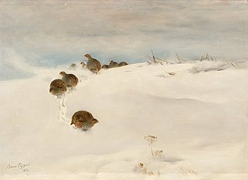861. Bruno Liljefors, Rapphöns i vinterlandskap.