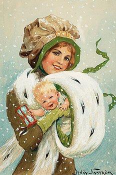 849. Jenny Nyström, Flicka med barn i muff.