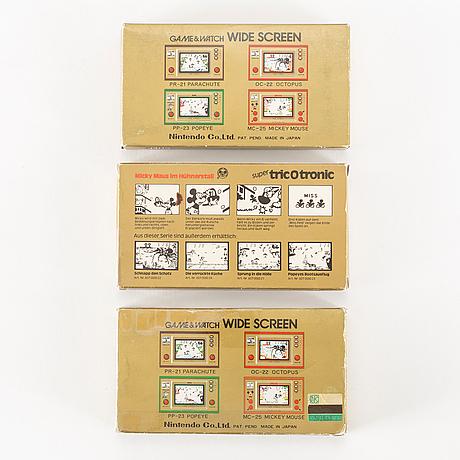 "Game & watch, ""fire"", ""chef"" samt ""mickey mouse"" i förpackningar, nintendo, 1981"