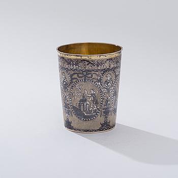 BÄGARE, förgyllt silver med niello dekor, Moskva 1804, oidentierad guldsmed, vikt 98 g.