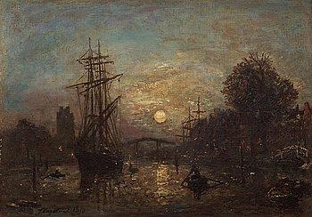 """1003. Jean-Barthold Jongkind, """"Bateaux sur le Canal de Dordrecht""""."""