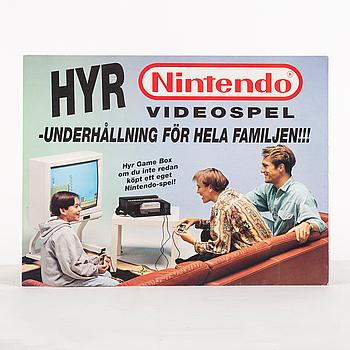 REKLAMSKYLT samt KARTONG, Nintendo 8-bitar, Nintendo 1980-tal.