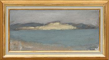 GUSTAV RUDBERG, olja och sand på pannå, signerad.