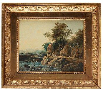 1021. Louis Belanger, Landskap med vandrande figurer vid fors.