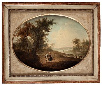 Landscape with figures near a lake.