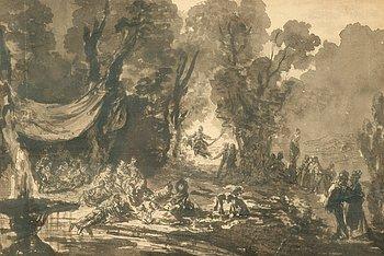 """1137. JEAN-PIERRE NORBLIN DE LA GOURDAINE, tillskriven, Lavering """"Fête galante""""."""