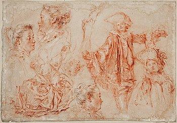 1134A. Jean-Antoine Watteau Hans krets, Figurstudier.