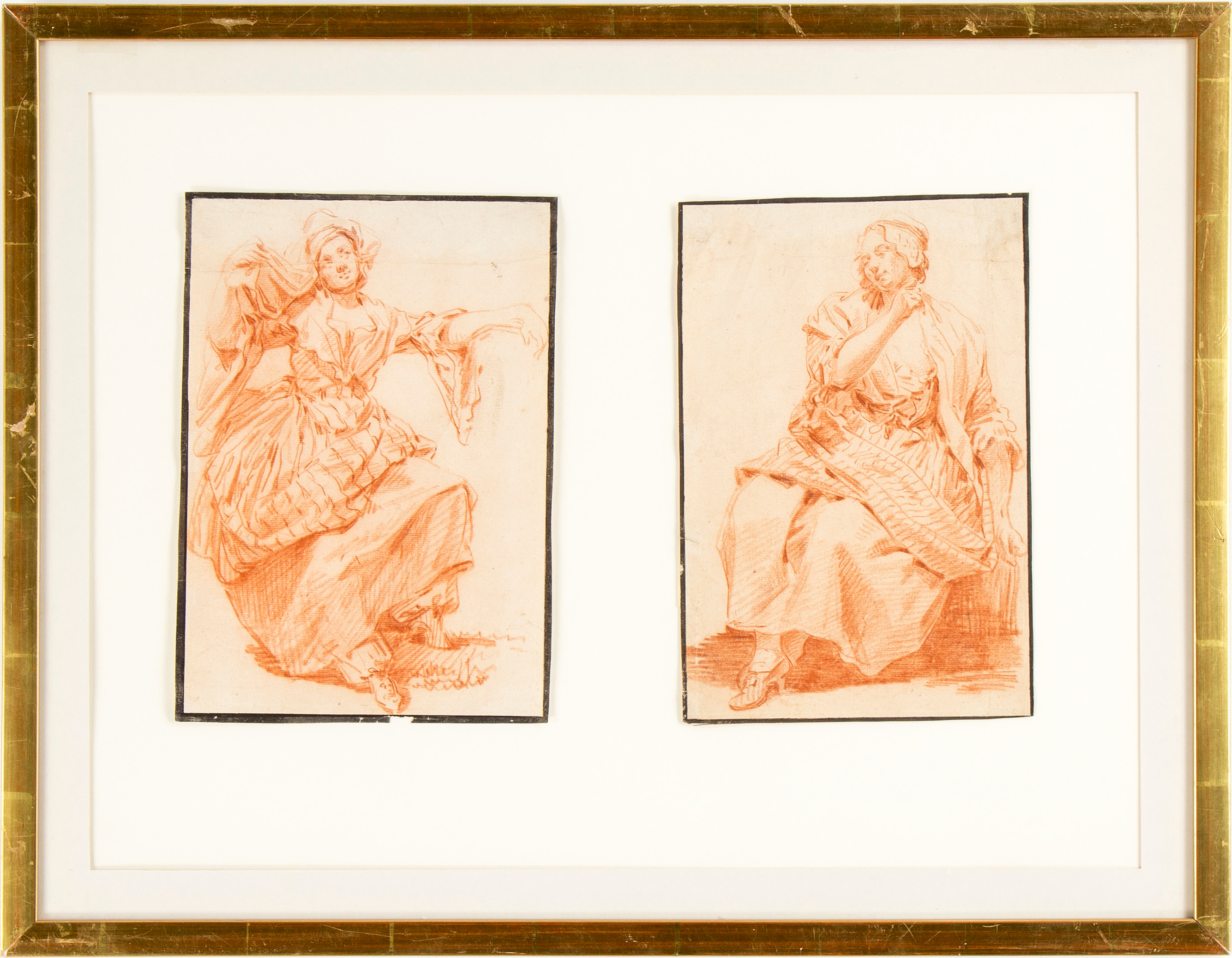 French artist, 18th Century  Study of female, a pair
