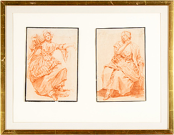 1135. FRANSK KONSTNÄR 1700-TAL , Rödkritor, ett par, ej signerade.