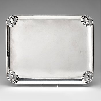 2. Georg Jensen, a Blossom tray, design nr 2, executed in Copenhagen 1918, 830/1000 silver.