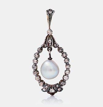 482. HÄNGE med troligen orientalisk barock pärla samt rosenslipade diamanter.
