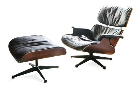 A lounge chair and ottoman.