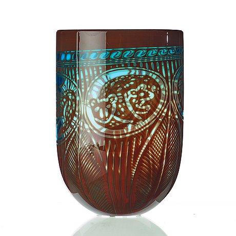 Gunnar cyrén, a 'graal' glass vase, orrefors, sweden 1980's.