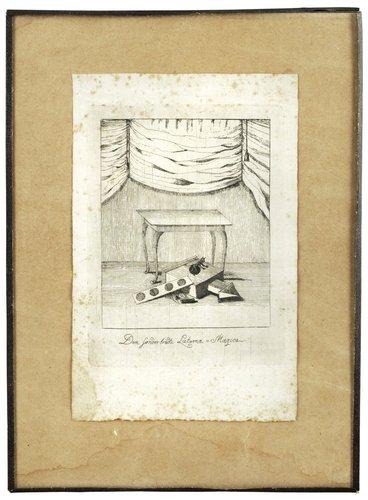 """Okänd konstnär 17/1800-tal, """"den sonderbrädte laterna=magica"""""""
