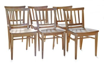 5. A SET OF SIX PINE DINNER CHAIRS,