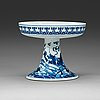 A blue and white dragons tazza, qing dynasty, qianlongs mark.