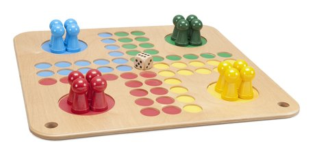 A wooden ludo game,