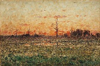 852. Per Ekström, Franskt landskap i aftonrodnad.
