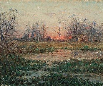 850. Per Ekström, Franskt landskap i solnedgång.