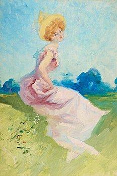 1005. Jules Chéret, Sitting girl.