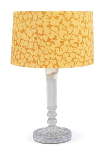 A glass table lamp,