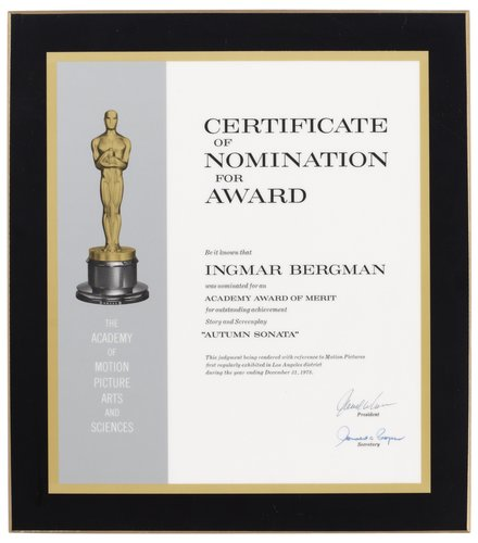 A nomination plaque,