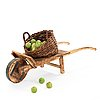 Ingrid herrlin, a stoneware basket with 30 apples and a wheelbarrow, sweden ca 1988.