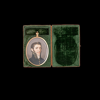 ERIK LE MOINE, miniature in gold frame, signed pinx 1813.