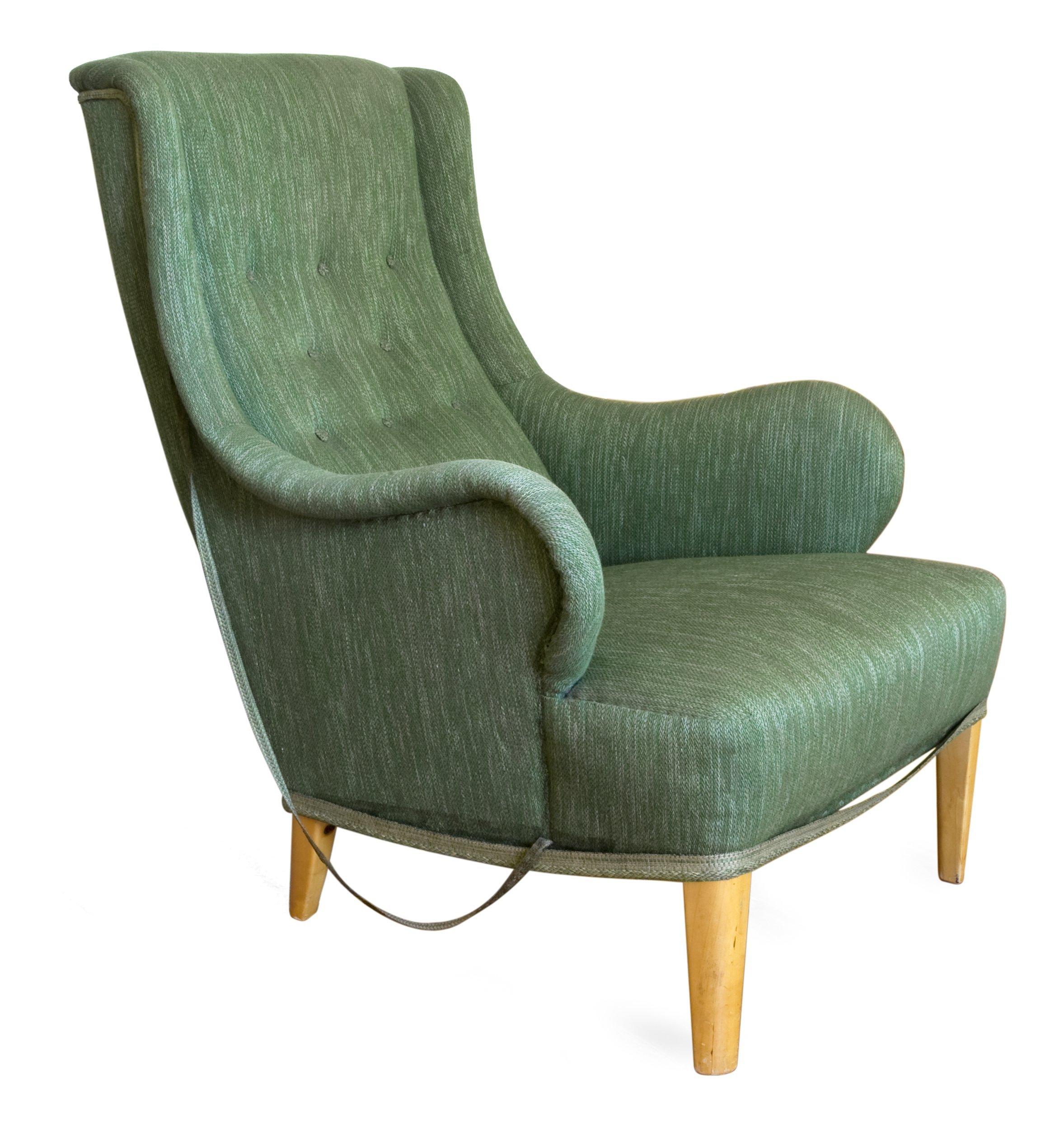 "FåTÖLJ,""Oscar"", Carl Malmsten Modellen formgiven 1935 Grön klädsel Bukowskis"