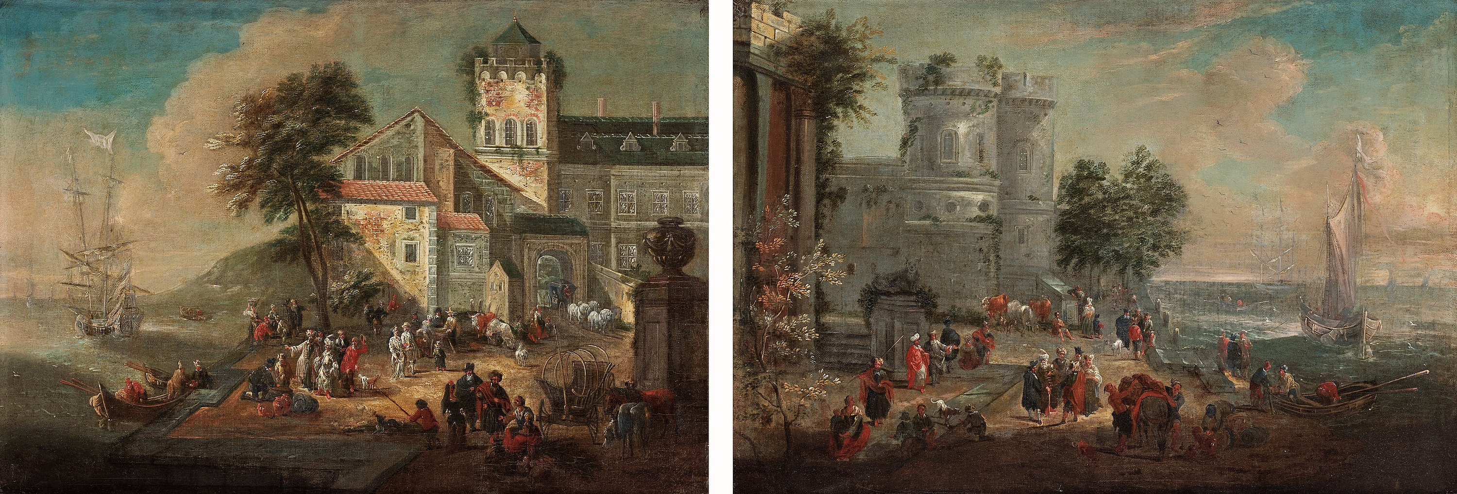 Dutch Shool, 17/18Th Century  A ruin landscape with figures