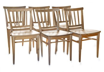 3. A SET OF SIX PINE DINNER CHAIRS.